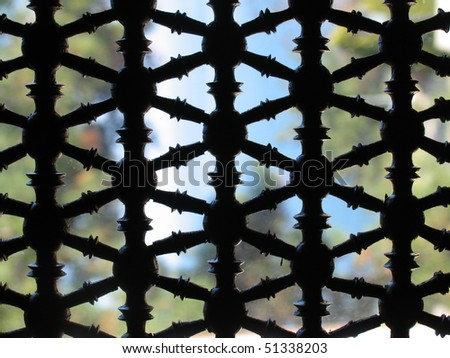 Oriental wooden window - stock photo