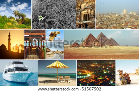 Oriental world. Group of pictures with arabic theme. - stock photo