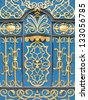 Oriental wrought iron ornament door in blue and gold. - stock photo