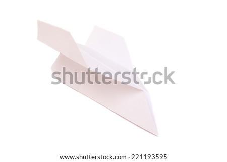 Origami airplane isolated on white  - stock photo