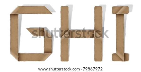 origami alphabet letter G H I - stock photo