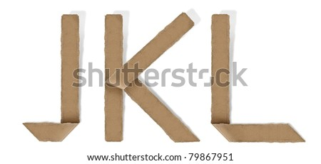 origami alphabet letter J K L - stock photo