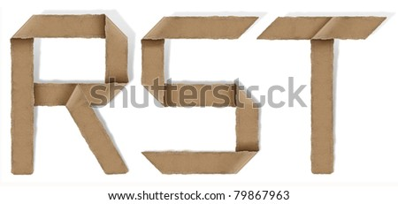origami alphabet letter R S T - stock photo