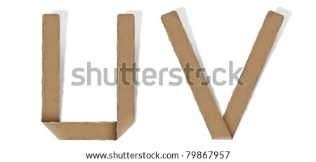 origami alphabet letter U V - stock photo