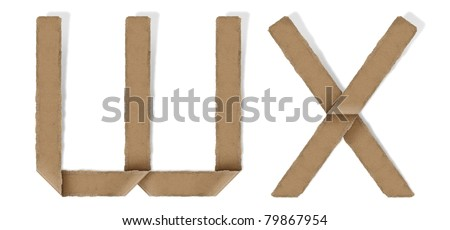 origami alphabet letter W X - stock photo