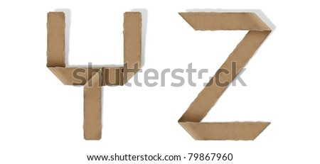 origami alphabet letter Y Z - stock photo