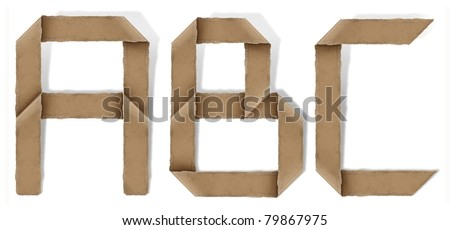 origami alphabet letters A B C - stock photo