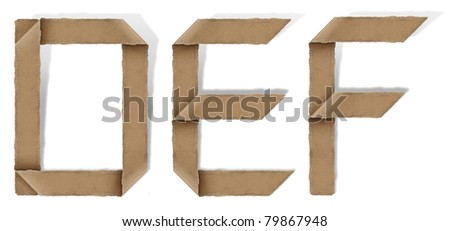 origami alphabet letters D E F - stock photo