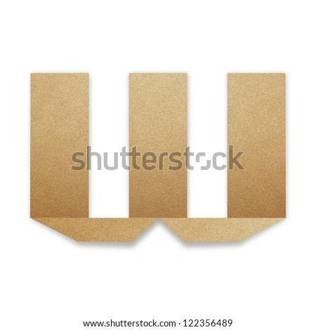 Origami alphabet letters from recycled paper : W - stock photo