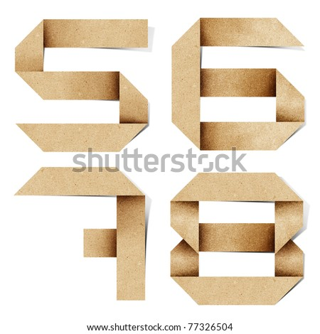 Origami alphabet letters number recycled paper craft stick on white background (  5 6 7 8 )