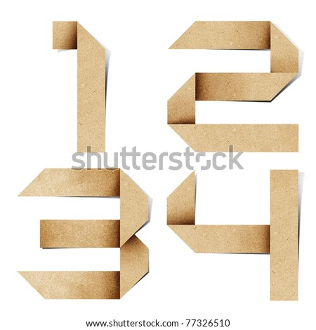 Origami alphabet letters number recycled paper craft stick on white background ( 1 2 3 4  ) - stock photo