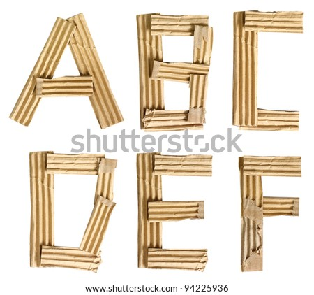 Origami alphabet letters recycled paper craft cut on white background (Save path) - stock photo