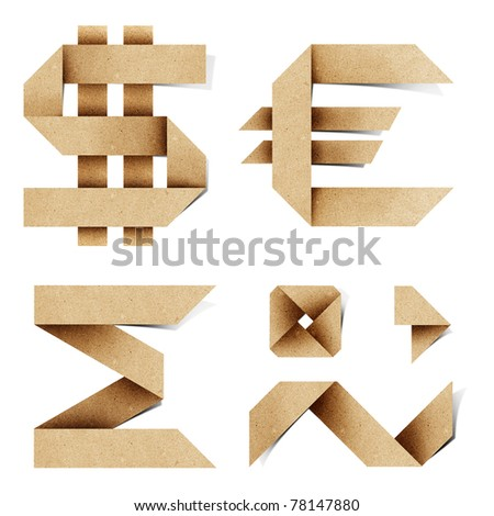 Origami alphabet letters recycled paper craft stick on white background - stock photo