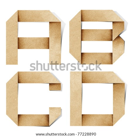Origami alphabet letters recycled paper craft stick on white background  ( a b c d ) - stock photo