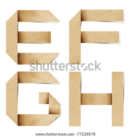Origami alphabet letters recycled paper craft stick on white background  (e f g h ) - stock photo