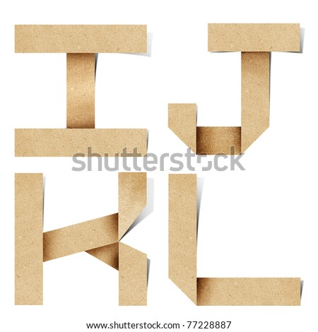 Origami alphabet letters recycled paper craft stick on white background  ( i j k l  ) - stock photo