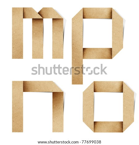 Origami alphabet letters recycled paper craft stick on white background ( m n o p ) - stock photo