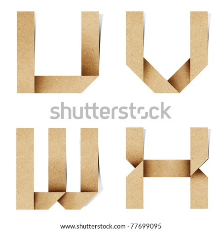 Origami alphabet letters recycled paper craft stick on white background ( u v w x ) - stock photo