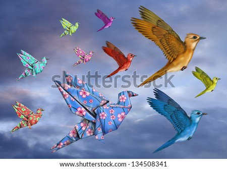 Origami and stylized birds flying across the sky - stock photo
