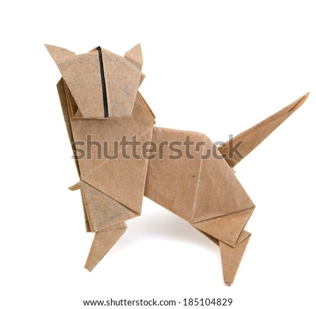 Origami animal: a tiger paper - stock photo