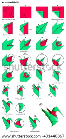 Origami Animal Bird Hummingbird Diagram Instructions Steps