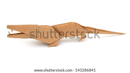 Origami animal:  crocodile on white background - stock photo