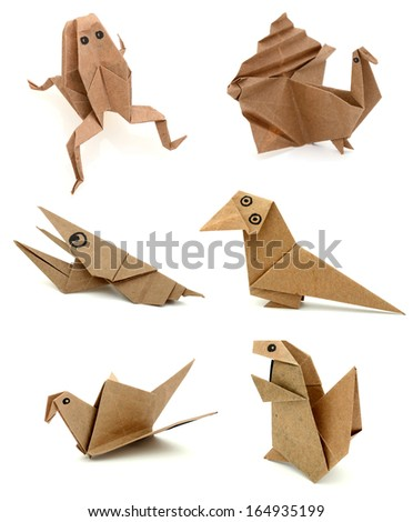 origami animals in recycle paper - stock photo