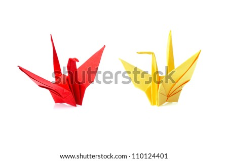 origami bird isolated on white background - stock photo