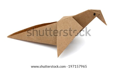 Origami bird, making recycling paper bird - stock photo