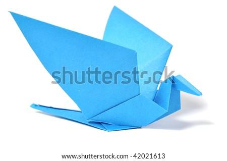 Origami bird over white - stock photo