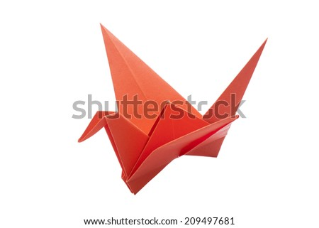 Origami bird paper isolated on white background  - stock photo