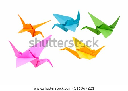 Origami birds - stock photo