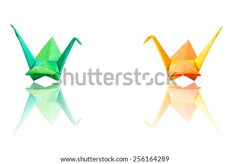 Origami birds couple isolate on white - stock photo