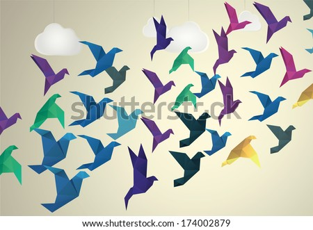 Origami Birds flying and fake clouds background - stock photo