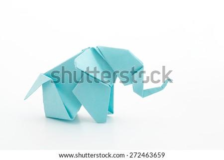 Origami blue elephant family on white background. - stock photo