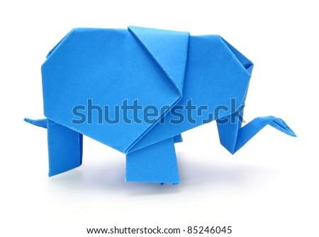 Origami blue elephant on white background - stock photo