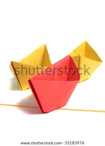 Origami boat over white