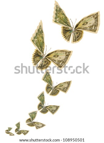 Origami butterflies background - stock photo