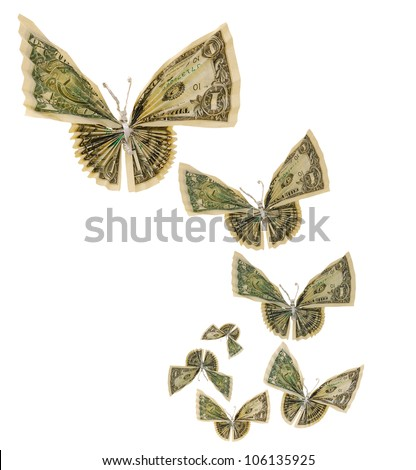 Origami butterflies on flying - stock photo