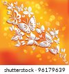 Origami butterflies on the sunny background. - stock photo