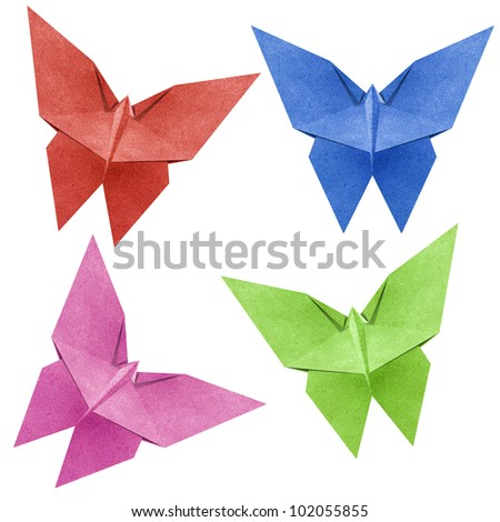 Origami butterfly made from Recycle Paper - stock photo