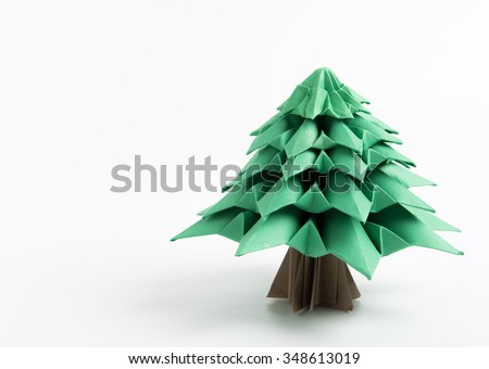 Origami Christmas tree with natural shadow - stock photo