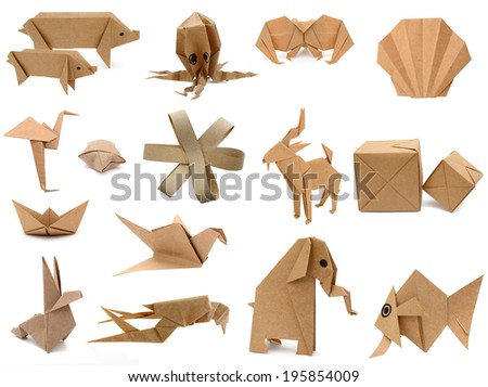 Origami collection with recycling papers isolated on white  - stock photo