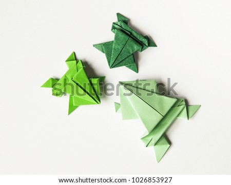 Origami Color Paper Frogs Stock Photo 1026853927 Shutterstock