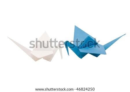Origami crane isolated on white background - stock photo