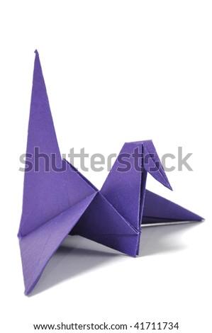 Origami crane over white - stock photo