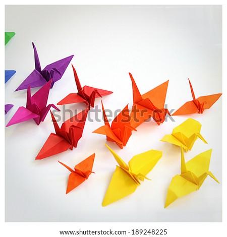Origami cranes - stock photo