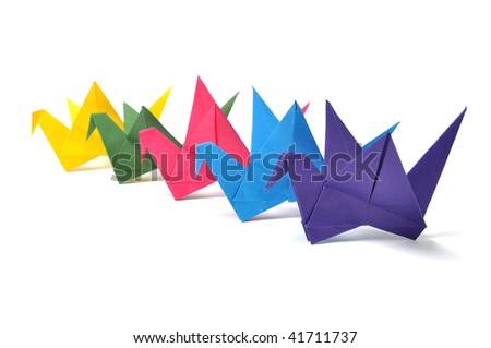 Origami cranes over white - stock photo