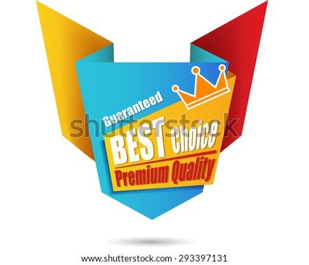 Origami design label - stock photo