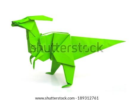Origami Dinosaur Parasaurolophus Isolated On White Background
